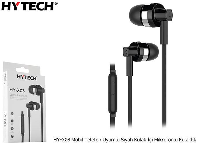 Hytech HY-X03 Mobil Telefon Uyumlu Siyah Kulak İçi Mikrofonlu Kulaklık