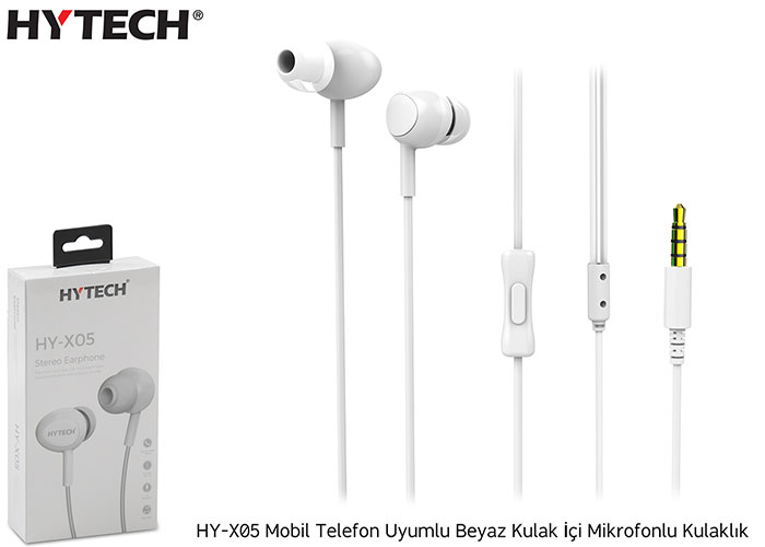 Hytech HY-X05 Mobile Phone Compatible White In-Ear Microphone Headset