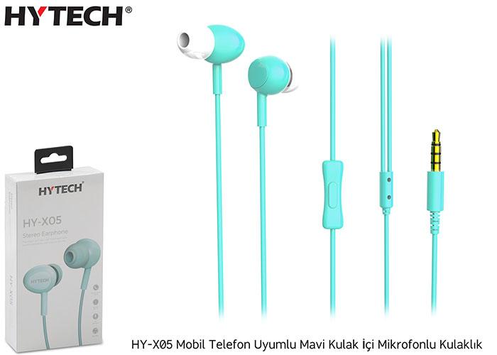 Hytech HY-X05 Mobil Telefon Uyumlu Mavi Kulak İçi Mikrofonlu Kulaklık