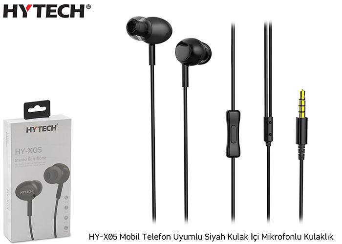 Hytech HY-X05 Mobil Telefon Uyumlu Siyah Kulak İçi Mikrofonlu Kulaklık
