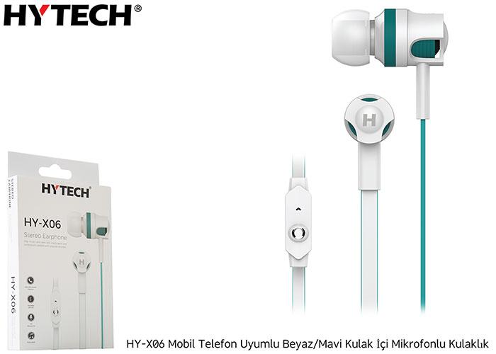 Hytech HY-X06 Mobil Telefon Uyumlu Beyaz/Mavi Kulak İçi Mikrofonlu Kulaklık