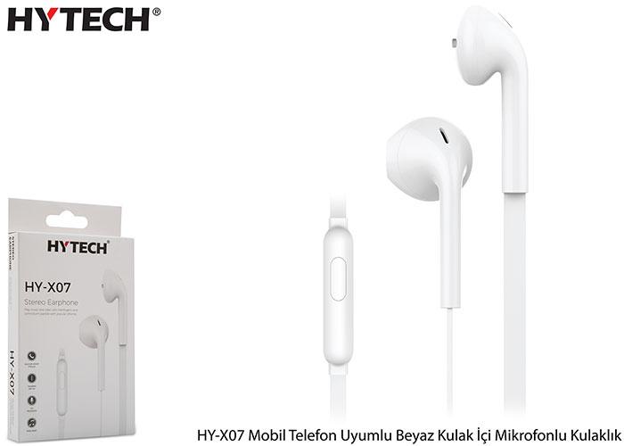 Hytech HY-X07 Mobil Telefon Uyumlu Beyaz Kulak İçi Mikrofonlu Kulaklık