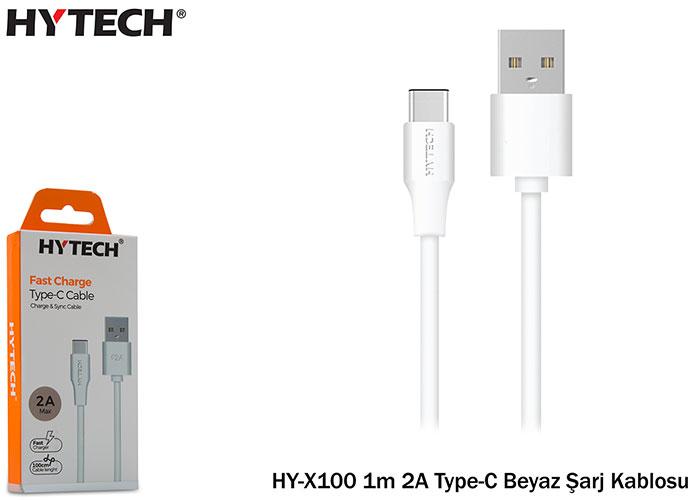 Hytech HY-X100 1m 2A Type-C Beyaz Şarj Kablosu