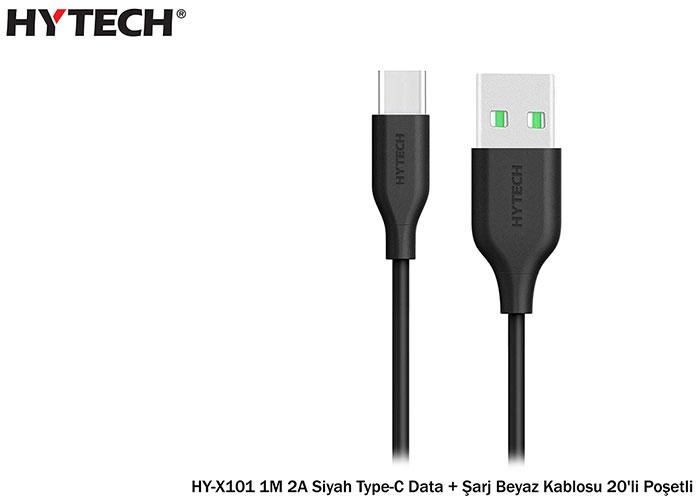 Hytech HY-X101 1M 2A Siyah Type-C Data + Şarj Siyah Kablosu 20li Poşet