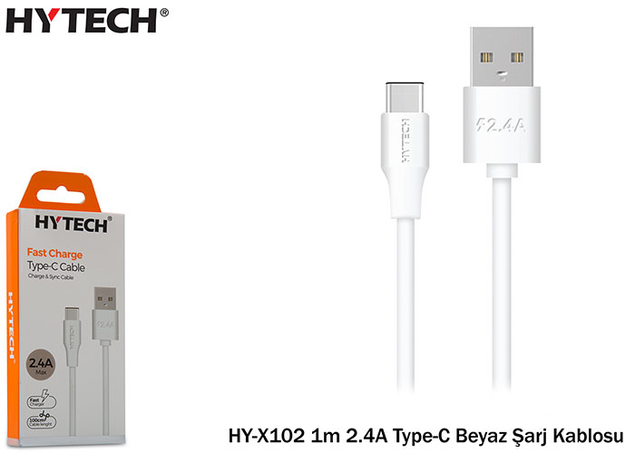 Hytech HY-X102 1m 2.4A Type-C Beyaz Şarj Kablosu