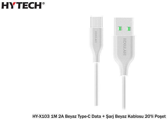 Hytech HY-X103 1M 2A Beyaz Type-C Data + Şarj Beyaz Kablosu 20li Poşet