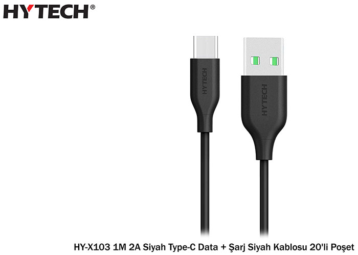 Hytech HY-X103 1M 2A White Type-C Data + Charger Black Cable 20pcs Bag