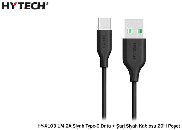 Hytech HY-X103 1M 2A Siyah Type-C Data + Şarj Siyah Kablosu 20li Poşet