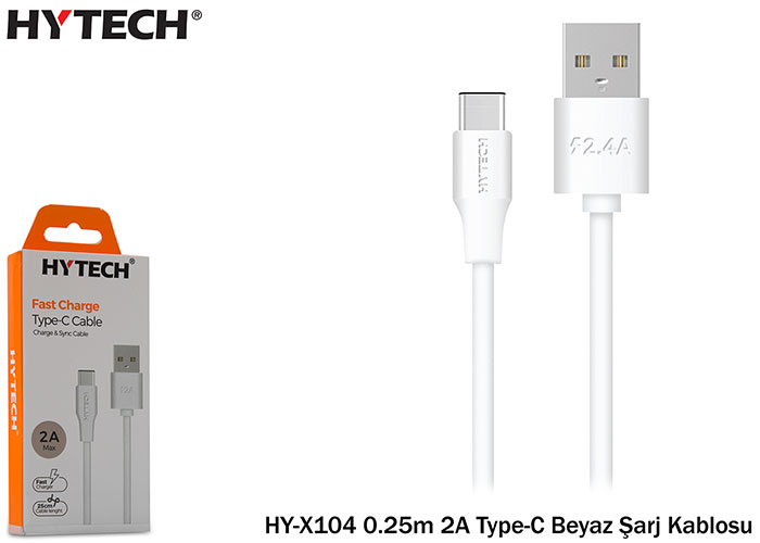 Hytech HY-X104 0.25m 2A Type-C White Charging Cable