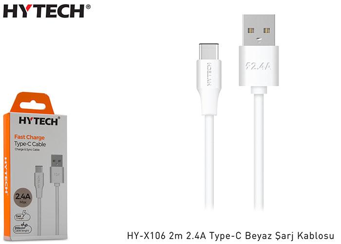 Hytech HY-X106 2m 2.4A Type-C Beyaz Şarj Kablosu