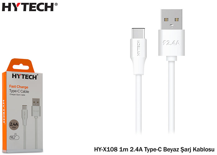 Hytech HY-X102 1m 2.4A Type-C White Charger Cable