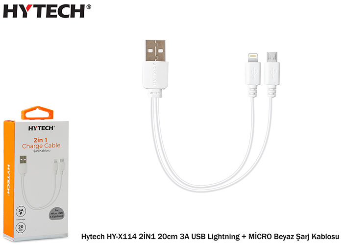 Hytech HY-X114 2İN1 20cm 3A USB Lightning BEYAZ + MİCRO Beyaz Şarj Kablosu