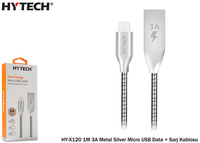Hytech hy-x120 1M 3A Metal Silver Micro USB Data + Sarj Kablosu