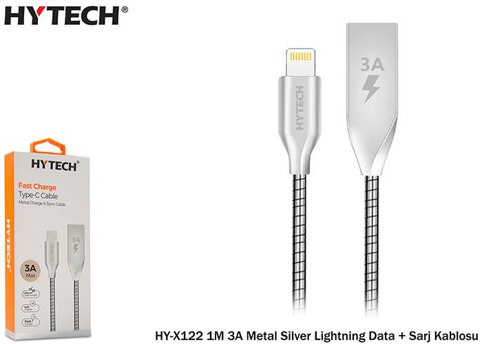 Hytech HY-X122 1M 3A Metal Silver Lightning Data + Sarj Kablosu