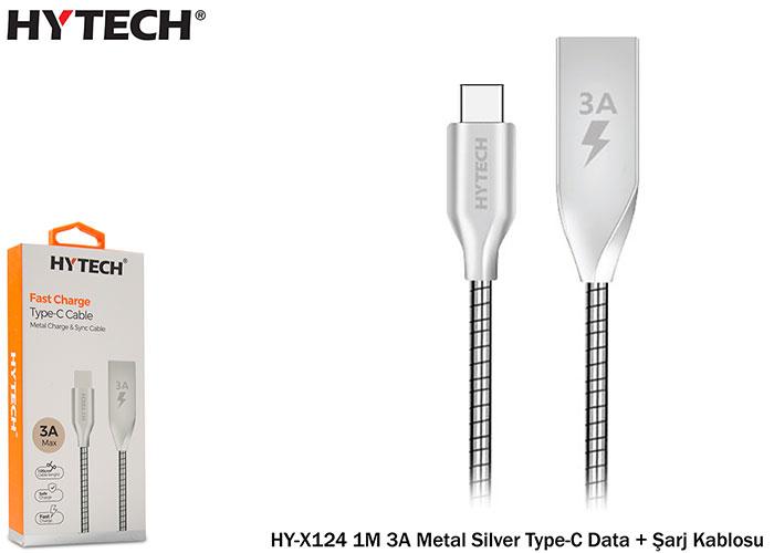 Hytech HY-X124 1M 3A Metal Silver Type-C Data + Şarj Kablosu