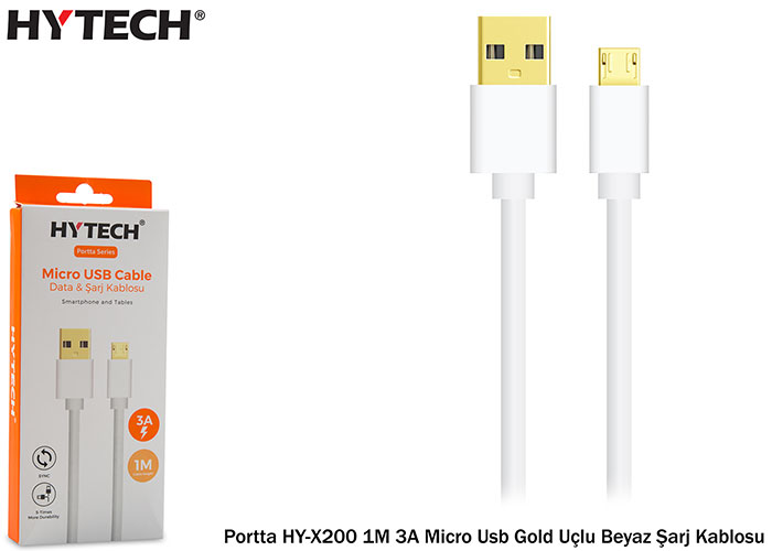 Hytech Portta HY-X200 1M 3A Micro Usb Gold Uçlu Beyaz Şarj Kablosu