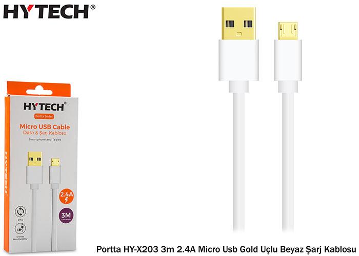 Hytech Portta HY-X203 3m 2.4A Micro Usb Gold Uçlu Beyaz Şarj Kablosu