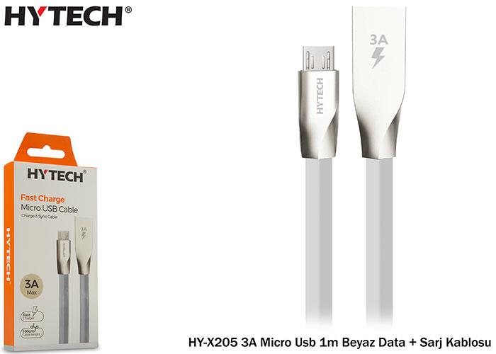 Hytech HY-X205 3A Micro Usb 1m Beyaz Data + Sarj Kablosu