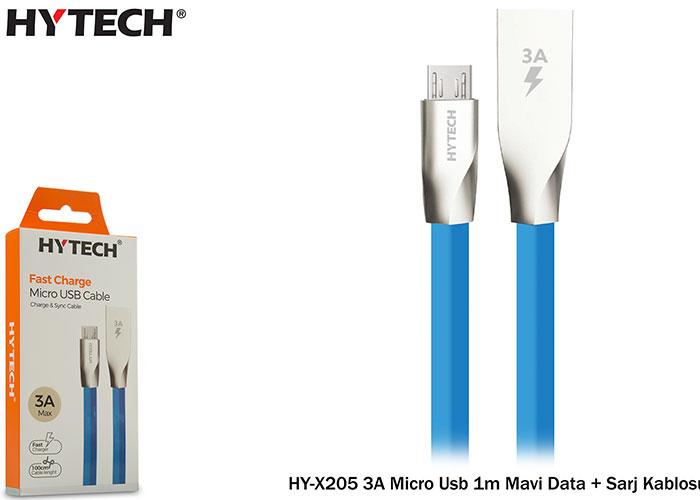 Hytech HY-X205 3A Micro Usb 1m Mavi Data + Sarj Kablosu