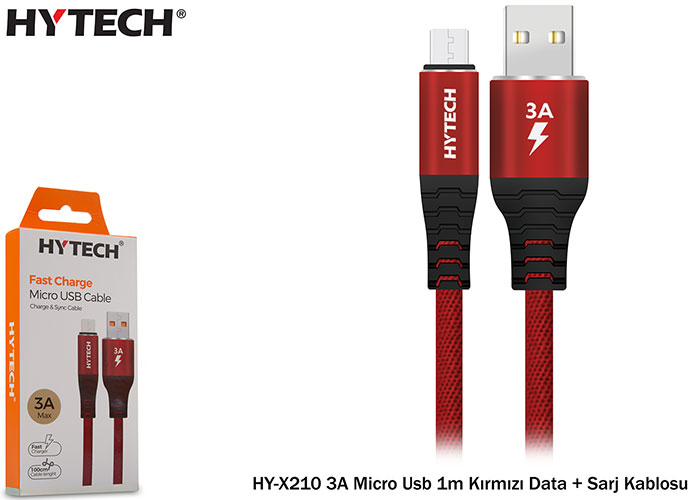 Hytech HY-X210 2A Micro Usb 1m Red Data + Charger Cable