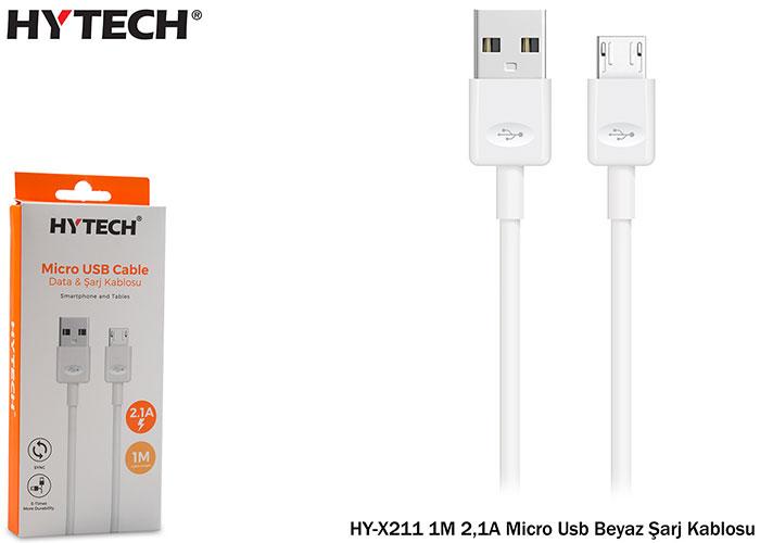 Hytech HY-X211 1M 2,1A Micro Usb Beyaz Şarj Kablosu
