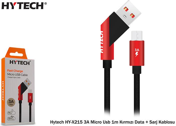 Hytech HY-X215 3A Micro Usb 1m Kırmızı Data + Sarj Kablosu