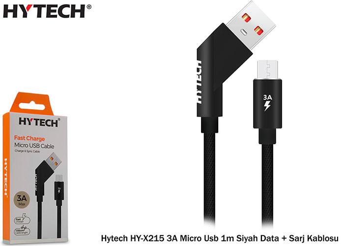 Hytech HY-X215 3A Micro Usb 1m Siyah Data + Sarj Kablosu