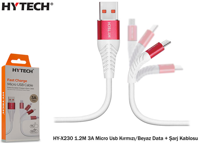 Hytech HY-X230 1.2M 3A Micro Usb Kırmızı/Beyaz Data + Şarj Kablosu