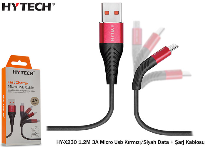 Hytech HY-X230 1.2M 3A Micro Usb Kırmızı/Siyah Data + Şarj Kablosu