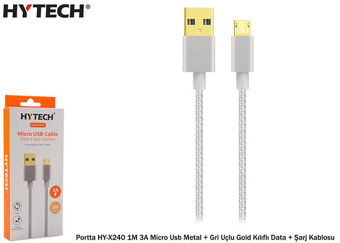 Hytech Portta HY-X240 1M 3A Micro Usb Metal + Gold Uçlu Gri Kılıflı Data + Şarj Kablosu