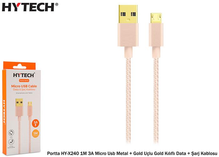 Hytech Portta HY-X240 1M 3A Micro Usb Metal + Gold Uçlu Gold Kılıflı Data + Şarj Kablosu