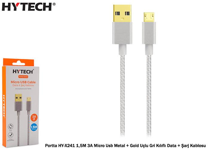 Hytech Portta HY-X241 1,5M 3A Micro Usb Metal + Gold Uçlu Gri Kılıflı Data + Şarj Kablosu