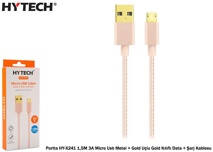 Hytech Portta HY-X241 1,5M 3A Micro Usb Metal + Gold Uçlu Gold Kılıflı Data + Şarj Kablosu