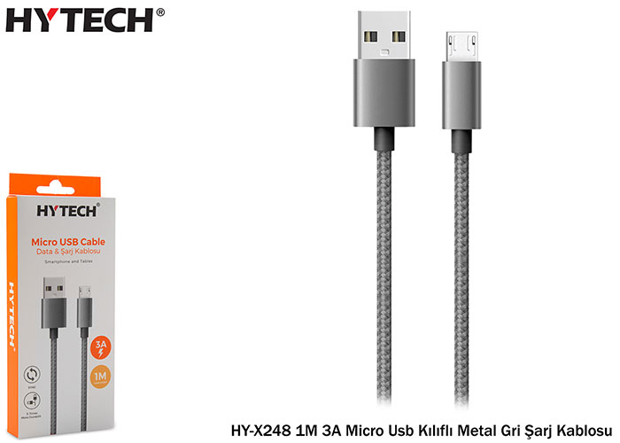 Hytech HY-X248 1M 3A Micro Usb Kılıflı Metal Gri Şarj Kablosu