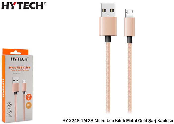 Hytech HY-X248 1M 3A Micro Usb Kılıflı Metal Gold Şarj Kablosu