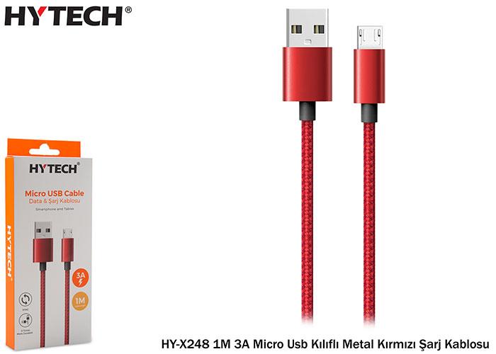 Hytech HY-X248 1M 3A Micro Usb Kılıflı Metal Kırmızı Şarj Kablosu