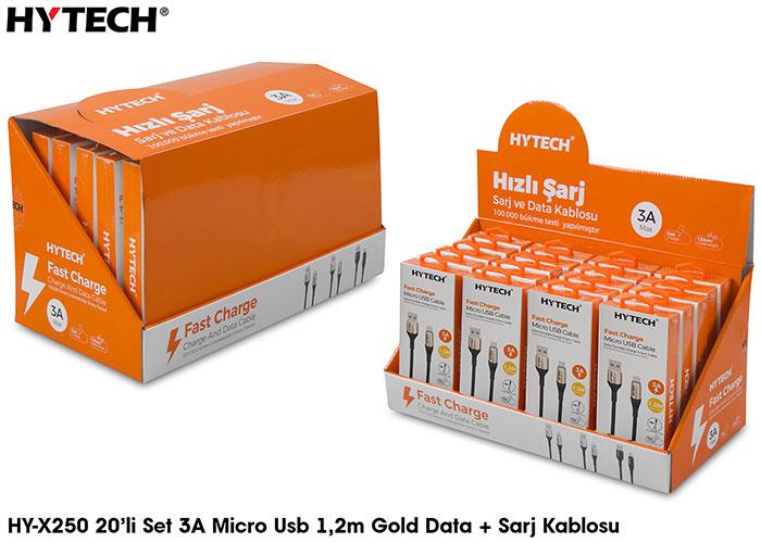Hytech HY-X250 3A Micro Usb 1,2m Gold Data + Sarj Kablosu