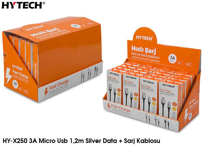 Hytech HY-X250 3A Micro Usb 1,2m Silver Data + Sarj Kablosu