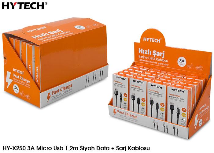 Hytech HY-X250 3A Micro Usb 1,2m Siyah Data + Sarj Kablosu