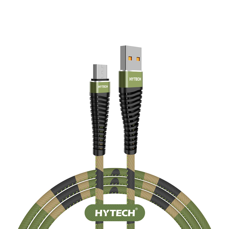 Hytech HY-X275 1.2M 3A Micro Usb Kamuflaj Desenli Kılıflı Yeşil Data + Sarj Kablosu