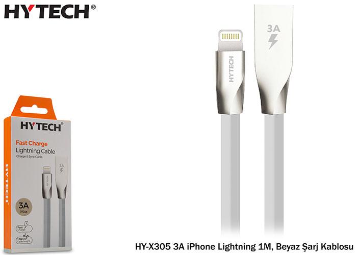 Hytech HY-X305 3A iPhone Lightning 1M, Beyaz Şarj Kablosu