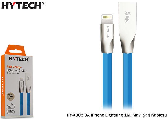 Hytech HY-X305 3A iPhone Lightning 1M, Mavi Şarj Kablosu