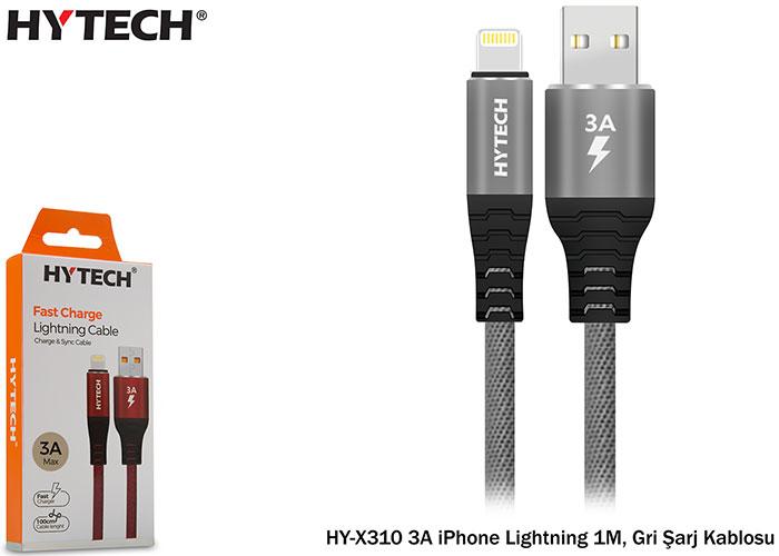 Hytech HY-X310 3A iPhone Lightning 1M, Gri Şarj Kablosu
