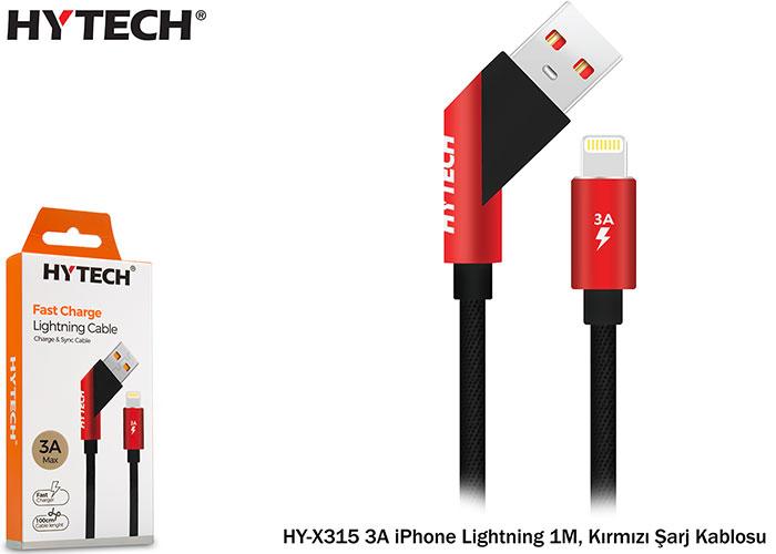 Hytech HY-X315 3A iPhone Lightning 1M, Kırmızı Şarj Kablosu