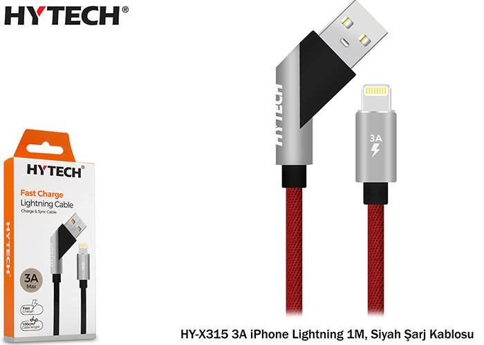 Hytech HY-X315 3A iPhone Lightning 1M, Siyah Şarj Kablosu