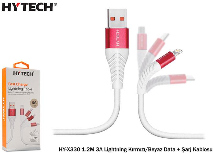 Hytech HY-X330 1.2M 3A Lightning Kırmızı/Beyaz Data + Şarj Kablosu