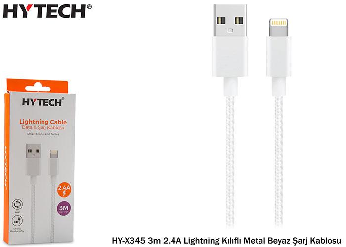 Hytech HY-X345 3m 2.4A Lightning Kılıflı Metal Beyaz Şarj Kablosu