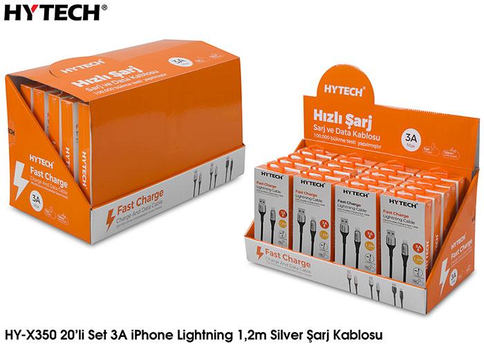 Hytech HY-X350 3A iPhone Lightning 1,2m Silver Şarj Kablosu