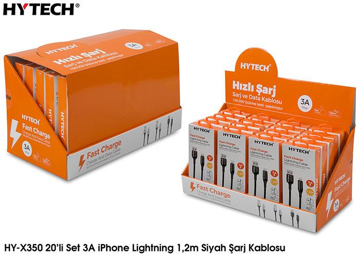 Hytech HY-X350 3A iPhone Lightning 1,2m Siyah Şarj Kablosu