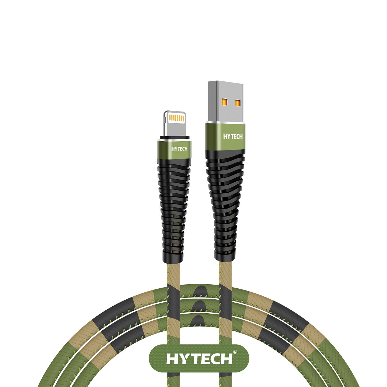 Hytech HY-X375 1.2M 3A Lightning Kamuflaj Desenli Kılıflı Yeşil Data + Sarj Kablosu